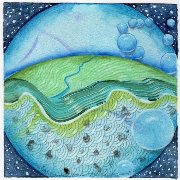 "Blue Planet Closeup, River, Ocean, collage by Kathleen O'Brien, 7.5x7.5"""