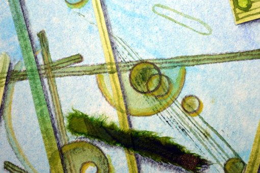 "Blue Planet Closeup, Diatoms, detail, collage by Kathleen O'Brien, 7.5x7.5"""