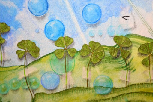 Blue Planet Closeup, Four Leaf Clover Garden, detail 1, collage by Kathleen O'Brien, 7.5x7.5""