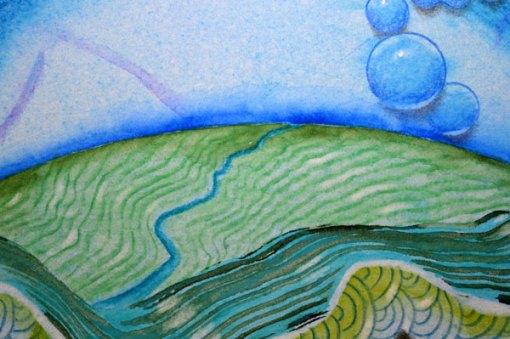 "Blue Planet Closeup, River, Ocean, detail 2, collage by Kathleen O'Brien, 7.5x7.5"""