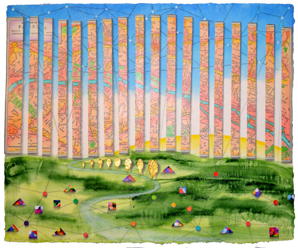 Walls and Gates, collage by Kathleen O'Brien, 14x17""