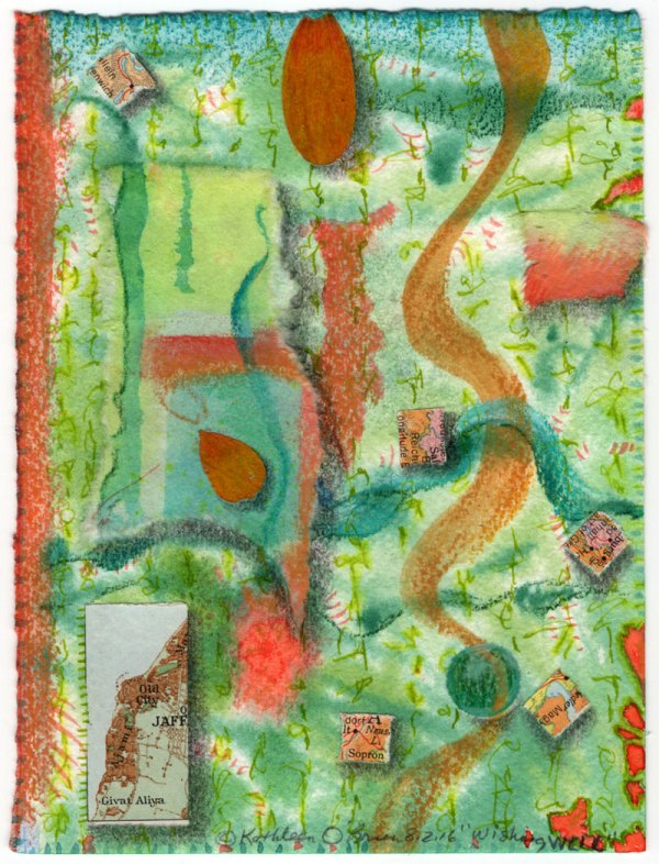 """""""Wishing Well"""", 6x4.5"""", watercolor, drawing, collage by Kathleen O'Brien"""