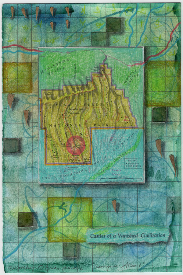 """""""Summer Atlas 1"""", 9x6"""", watercolor, drawing, mica, map, collage by Kathleen O'Brien"""