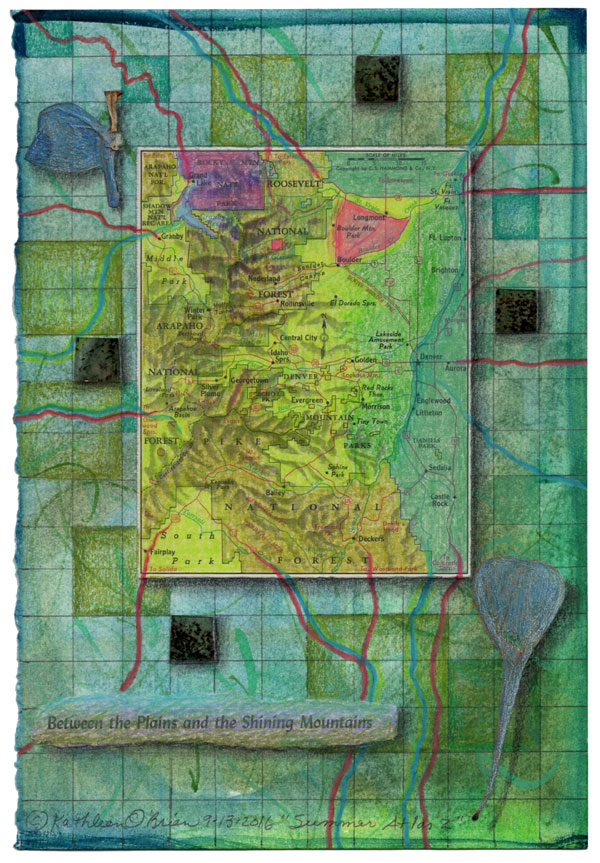 """Summer Atlas 2"", 9x6"", watercolor, drawing, mica, map, collage by Kathleen O'Brien"