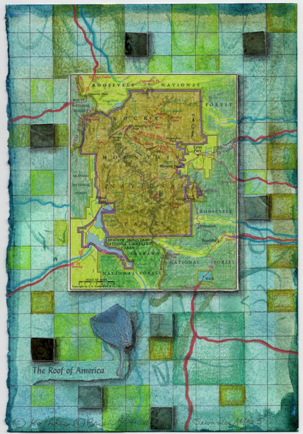 """Summer Atlas 3"", 9x6"", watercolor, drawing, mica, map, collage by Kathleen O'Brien"