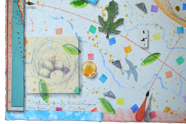 """""""Things That Fly, Like Summer"""", 22x30"""", detail of watercolor, drawing, collage by Kathleen O'Brien"""