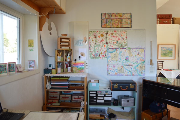 Collage wall in the studio