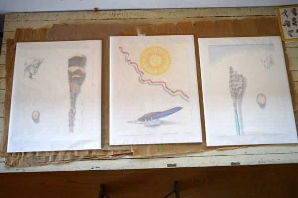 "Drawings by Kathleen O'Brien for UK Healthcare , getting wrapped up, ""Turkey Feather Fan"", ""Sun Worship""""Hawk Prayer Stick"","