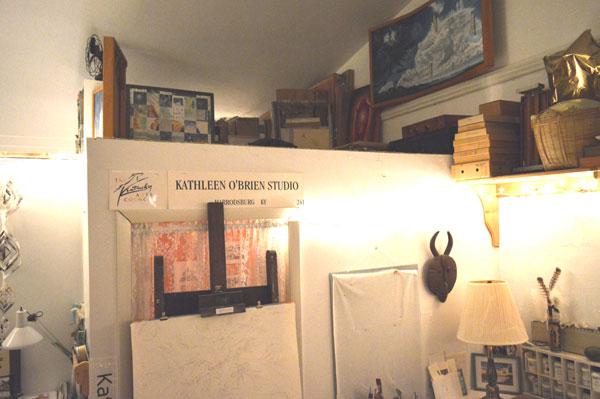 Art Loft storage in Kathleen O'Brien's studio