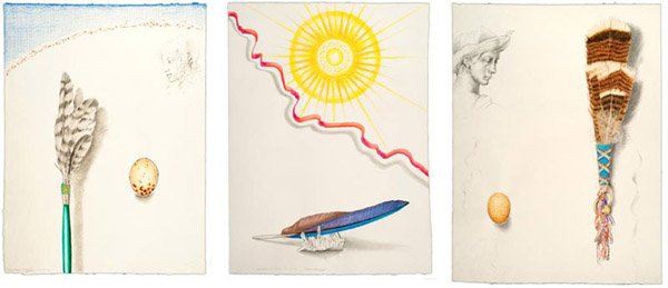 "Drawings by Kathleen O'Brien for UK Healthcare, ""Hawk Prayer Stick"", ""Sun Worship"", ""Turkey Feather Fan"""