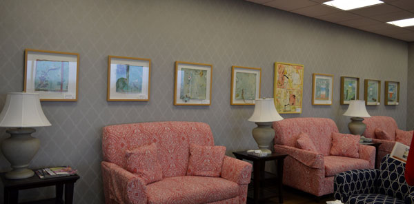 One wall display of art by Kathleen O'Brien at Baptist Health Women's Services