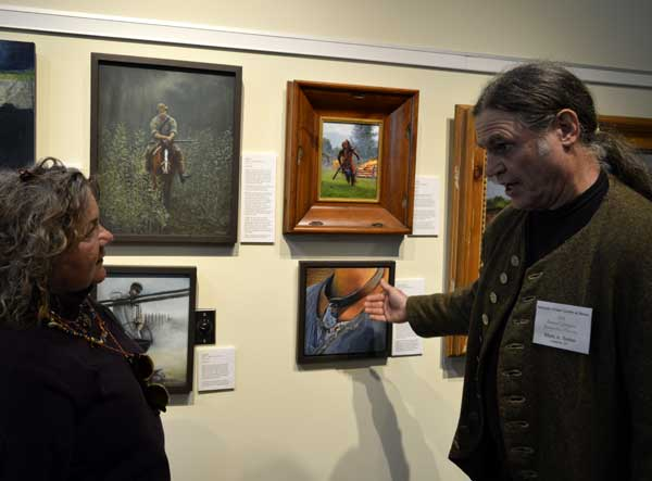 "Mark Selter with his oil paintings (""Cane"") at ""225: Artists Celebrate Kentucky's History"" reception: photo, Greg Orth"