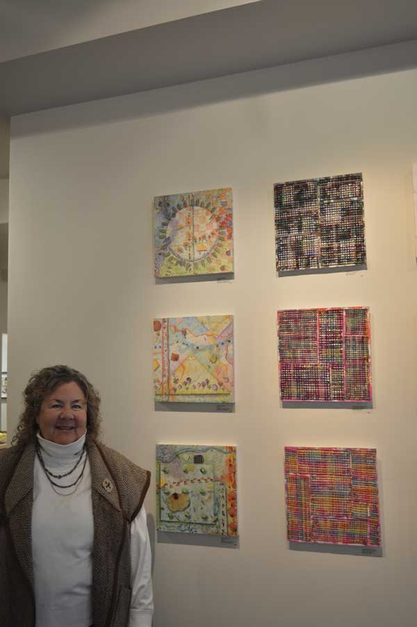 "Kathleen O'Brien at Gridworks Reception with ""Shapes 1, 2, and 3"""