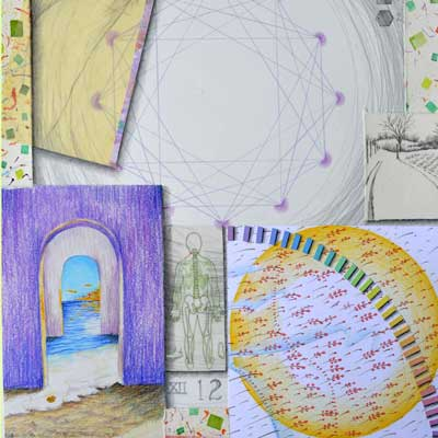 """""""Twelve, Atlas of the Year"""", detail of mixed media collage, 22x15, by Kathleen O'Brien"""