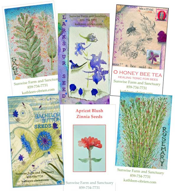 Some seed and herb tags for Sunwise Farm and Sanctuary products by Kathleen O'Brien