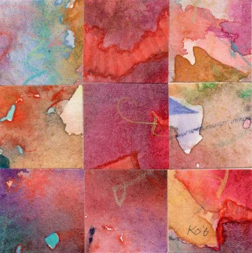 """09 Paintings 01"", watercolor collage, 3x3"" by Kathleen O'Brien"