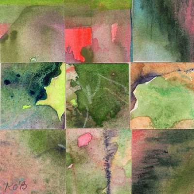"""09 Paintings 06"", watercolor collage, 3x3"" by Kathleen O'Brien"