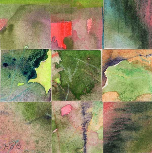 """""""09 Paintings 06"""", watercolor collage, 3x3"""" by Kathleen O'Brien"""