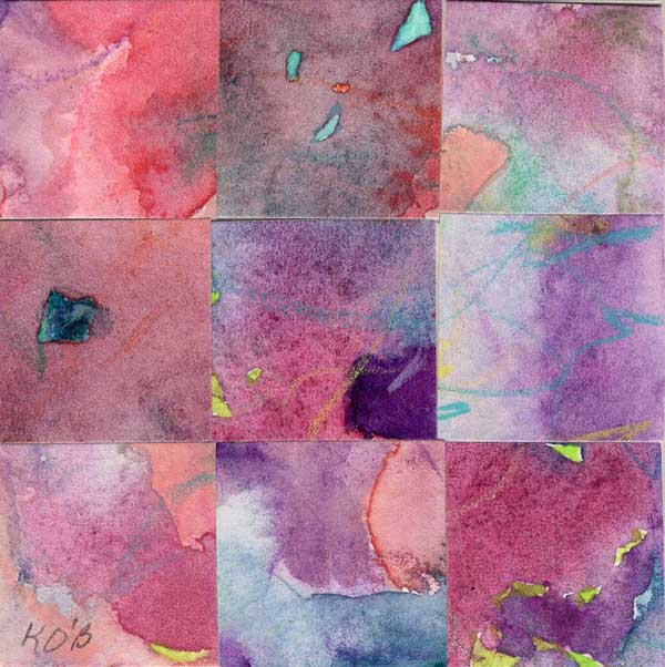 """09 Paintings 08"", watercolor collage, 3x3"" by Kathleen O'Brien"