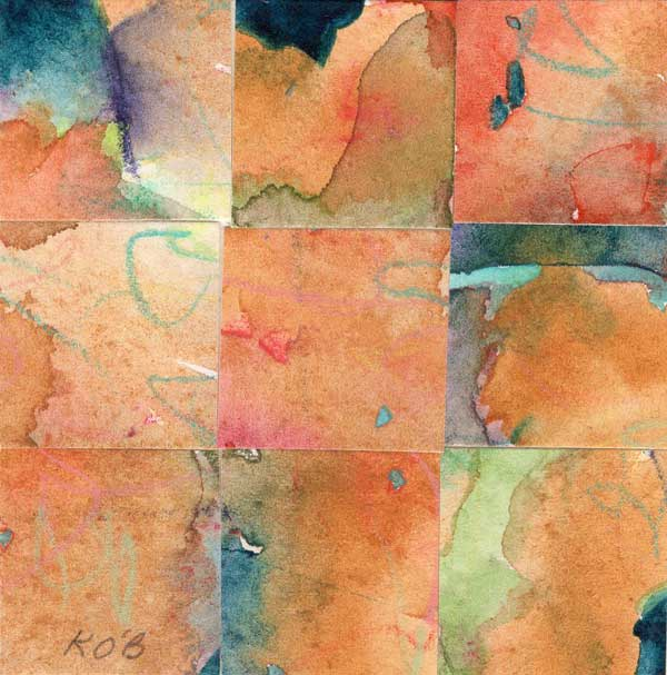 """09 Paintings 09"", watercolor collage, 3x3"" by Kathleen O'Brien"