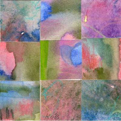 """09 Paintings 12"", watercolor collage, 3x3"" by Kathleen O'Brien"