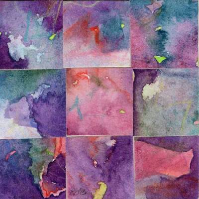 """""""09 Paintings 13"""", watercolor collage, 3x3"""" by Kathleen O'Brien"""