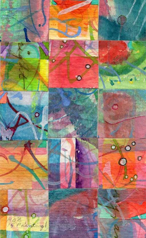 """""""15 Paintings 01"""", watercolor collage,5x3"""" by Kathleen O'Brien"""
