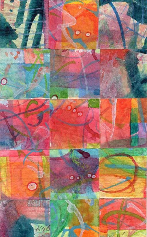 """15 Paintings 05"", watercolor collage,5x3"" by Kathleen O'Brien"