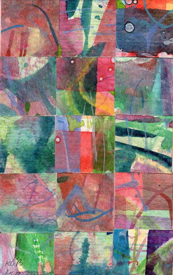 """""""15 Paintings 06"""", watercolor collage,5x3"""" by Kathleen O'Brien"""