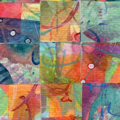 """15 Paintings 09"", watercolor collage,5x3"" by Kathleen O'Brien"