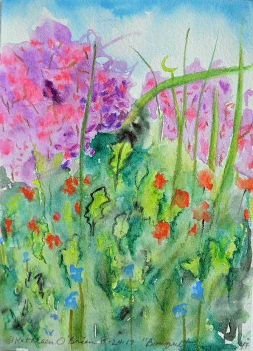 """Bouquet 17"", watercolor by Kathleen O'Brien, 6x4.5"""
