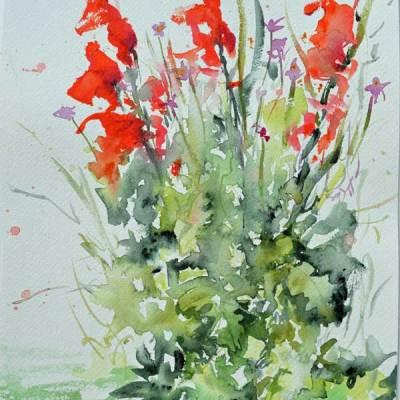 """Bouquet 01"", watercolor by Kathleen O'Brien, 12x9"""