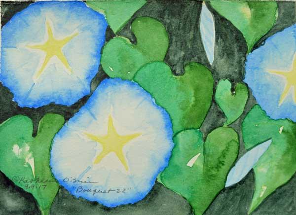 """Bouquet 22"", watercolor by Kathleen O'Brien, 4.5x6"""