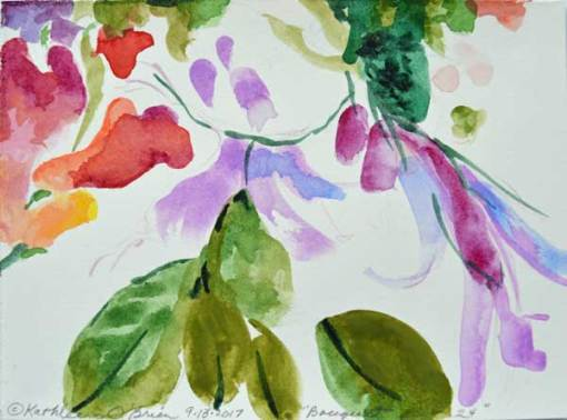 "Bouquet 24, watercolor by Kathleen O'Brien, 4.5x6"""