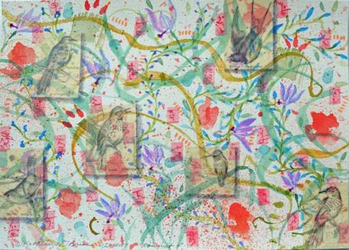 """""""Bouquet 4"""", watercolor, drawing, collage by Kathleen O'Brien, 9x12"""""""