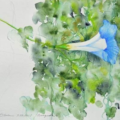 """Bouquet 06"", watercolor by Kathleen O'Brien, 9x12"""