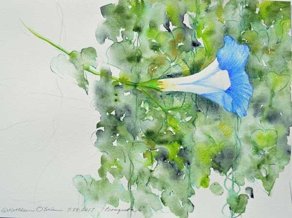 "Bouquet 6, watercolor by Kathleen O'Brien, 9x12"""