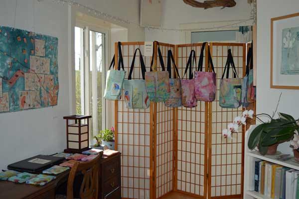Totes display at ARTTOUR, Kathleen O'Brien Studio