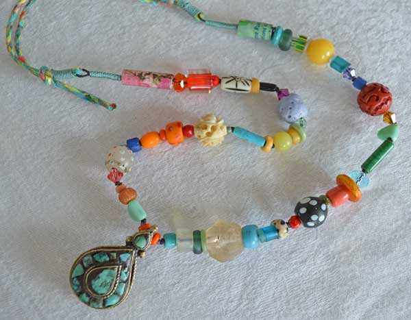 Antique Tibetan Turquoise pendant and many antique varieties, a necklace by Kathleen O'Brien