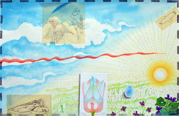 """""""Atlas of the Year, One"""" watercolor, drawing, collage by Kathleen O'Brien"""