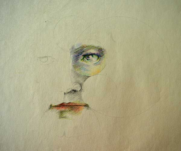 "© Kathleen O'Brien, ""Circles Portrait"", drawing, 1971"