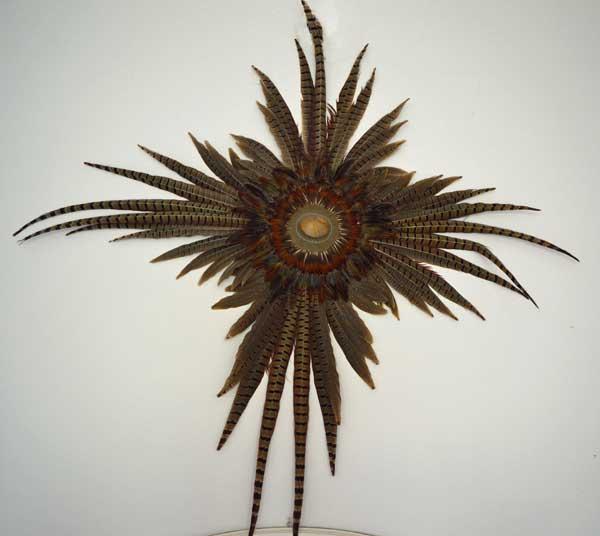 "© Kathleen O'Brien, Pheasant Feather mandala with Inlaid shell, 30x30x3"", 1973"