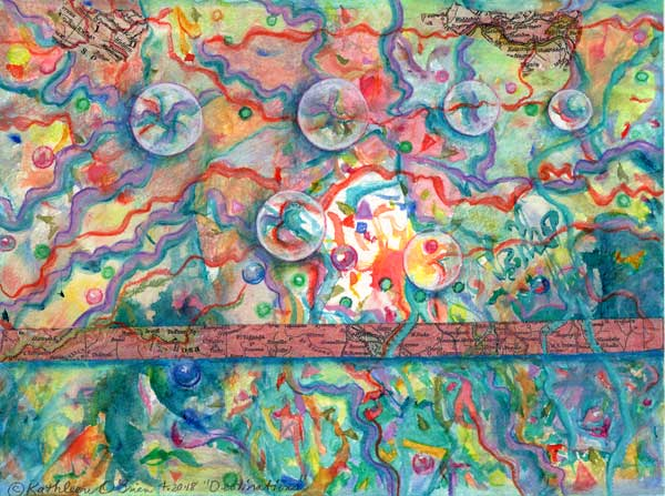 "© Kathleen O'Brien,""Destinations"", watercolor collage, 6x8"""