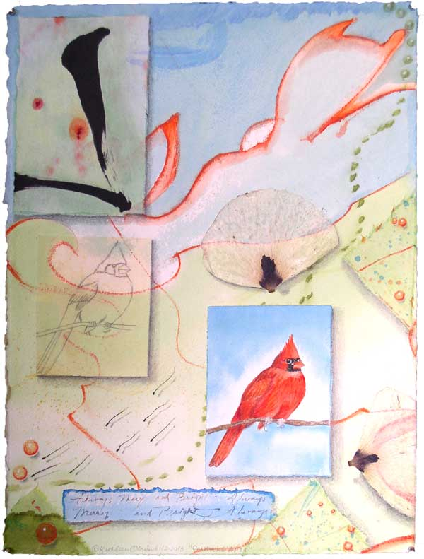 "© Kathleen O'Brien, ""Bird Bliss, Cardinal"", watercolor, drawing, collage, 15x11"""