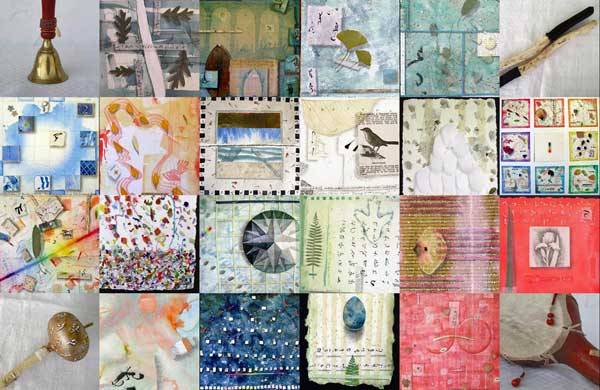 "© Kathleen O'Brien, ""4 Seasons Exhibit Postcard"", watercolor, drawing, petals, collage, 2004"