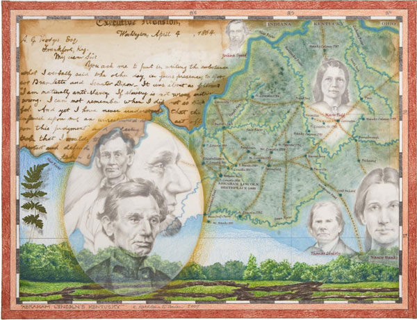 """© Kathleen O'Brien, """"Abraham Lincoln's Kentucky"""", Giclee print of watercolor, drawing, collage, 2008"""