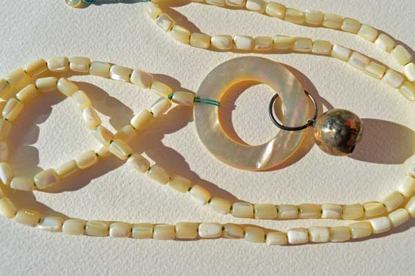 Healing Necklace 12, antique Mother of Pearl & silver teething ring & vintage Mother of Pearl beads © Kathleen O'Brien