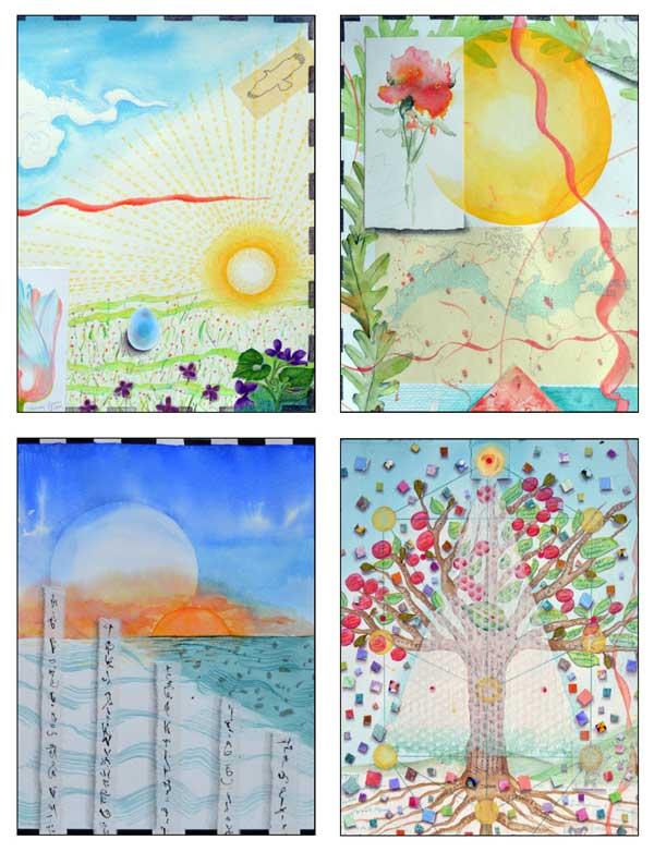 Atlas Card Set1-© Kathleen O'Brien, details from Atlas 1 Aries-Spring, 4 Cancer-Summer, 7 Libra-Autumn, and 10 Capricorn-Winter