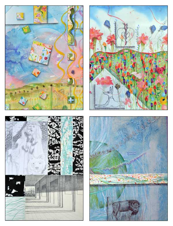 Atlas Card Set 2-© Kathleen O'Brien, details from Atlas 2 Taurus-Spring, 5 Leo-Summer, 8 Scorpio-Autumn, and 11 Aquarius-Winter