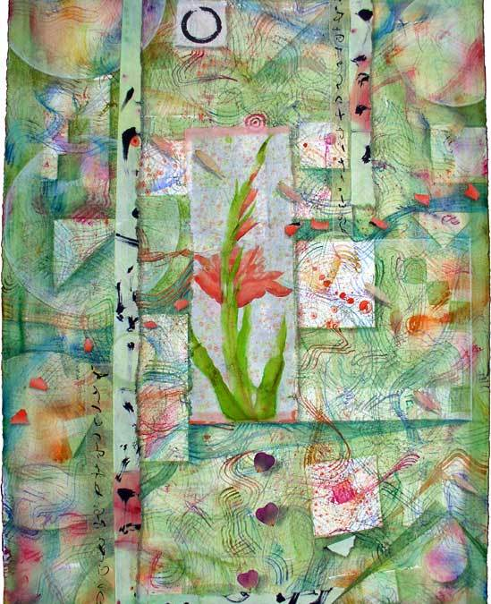 """© Kathleen O'Brien, """"Gladiola Garden"""", watercolor, drawing, petals, collage, 2011"""